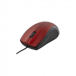 Optical Mouse, 1200 DPI, 125 Hz, 3 Buttons with Scroll, USB, 1.2m Cable, Red