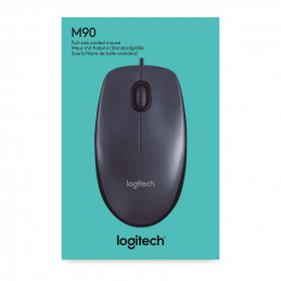 Logitech Optical Mouse M90, Wired, 2 Buttons with Scroll, USB, 1000 DPI, Gray/Black