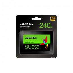 """ADATA Ultimate SU650 2.5"""" SSD, 240GB, 3D NAND Flash, 520MB/s Read, 450MB/s Write, Black"""