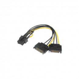 Akasa, SATA to 6 + 2-pin PCIe Adapter, 0.15m, Black/Yellow
