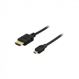 Deltaco HDMI 1.4 Cable, 3m, 4K, Ultra HD, HDMI Type A Male - HDMI Micro Male, Gold Plated, Black