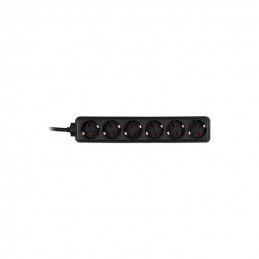 Deltaco Branch Socket with 6xCEE 7/4 Socket, 1xCEE 7/7 Connection, 5m Cable, Black