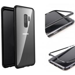 Samsung Galaxy S9 Magnetisk Metallfodral Härdat Glasskydd på Baksidan