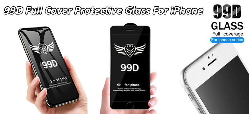 Härdat glas 99D Heltäckande över kanterna för iPhone X XR XS 11 Pro